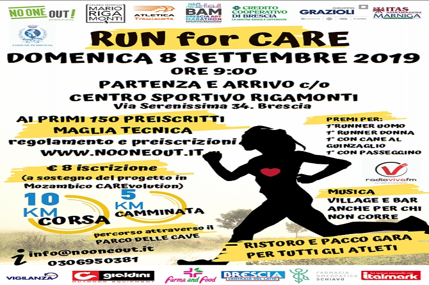 Run for care entra in scena domenica 8 settembre 2019 - Evento Sportivo
